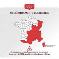 Cartes des 48 départements pneus hivers